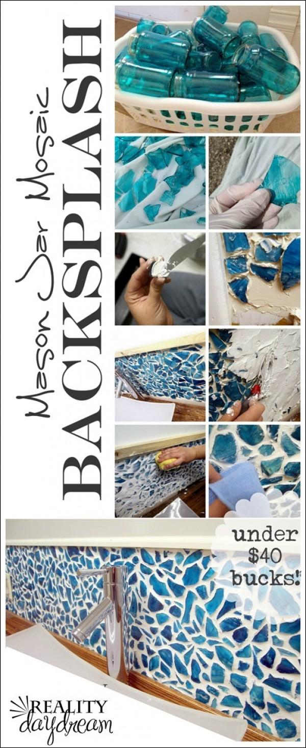 Mason Jar Mosaic Tile Backsplash For Under $40.