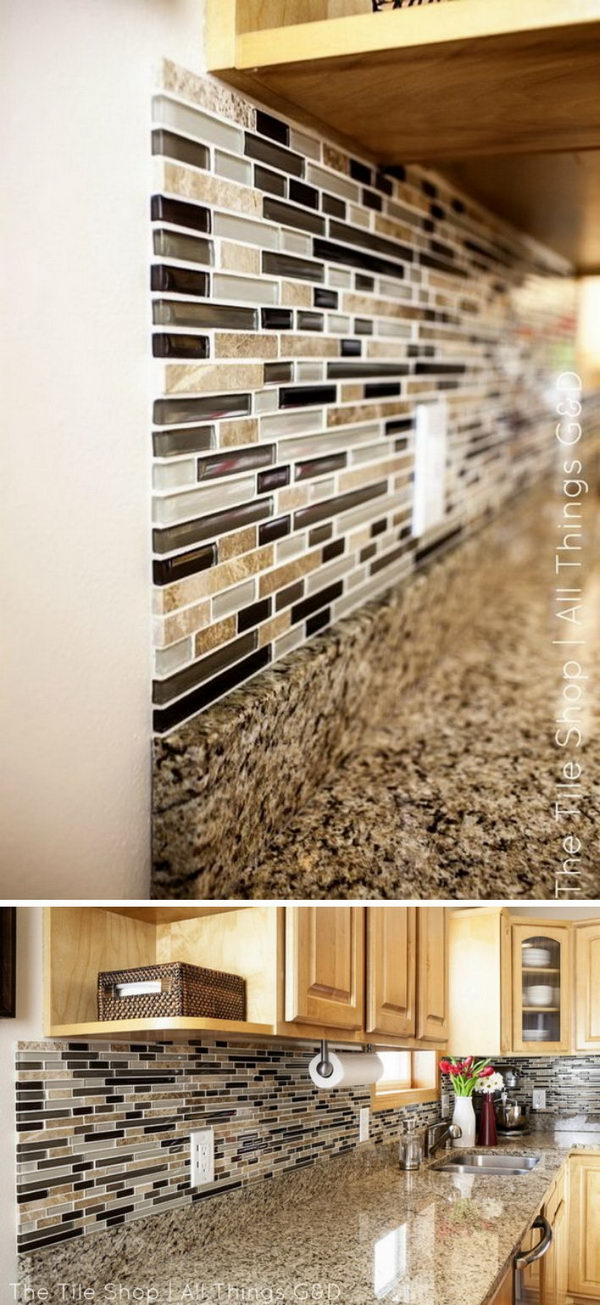 DIY Linear Mosaic Tile Backsplash