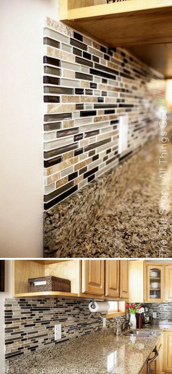 DIY Linear Mosaic Tile Backsplash