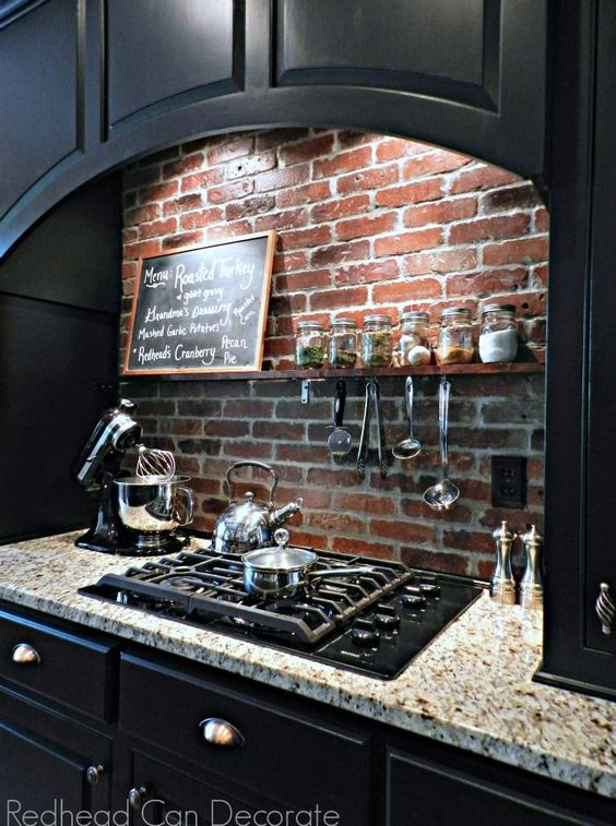 DIY Brick Backsplash.