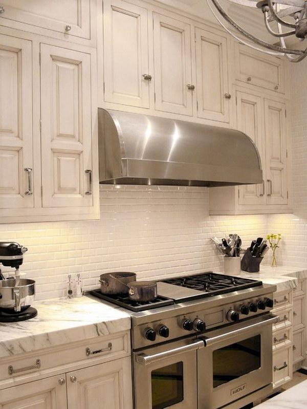 Retro Cream White Kitchen Set with Marble Countertop Plus White Ceramic Subway Tiles Backsplash.