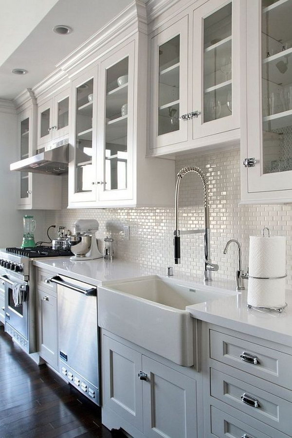 All White Kitchen with Mini Subway Tile Backsplash