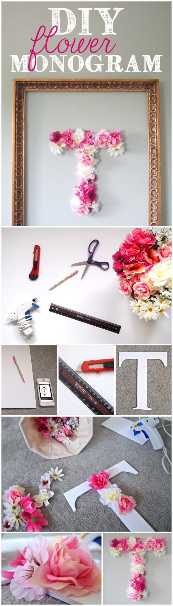 DIY Faux Flower Monogram.