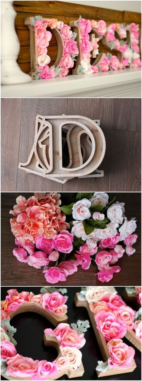 DIY Rustic Letters With Flowers.