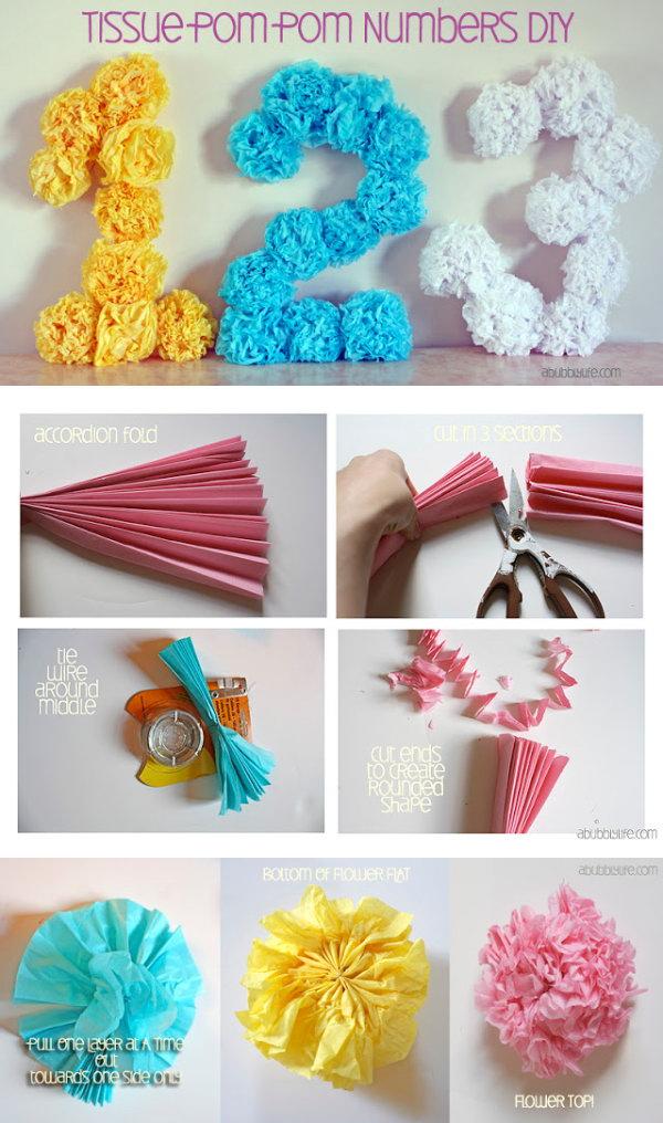 DIY Tissue Pom pom Flower Letters