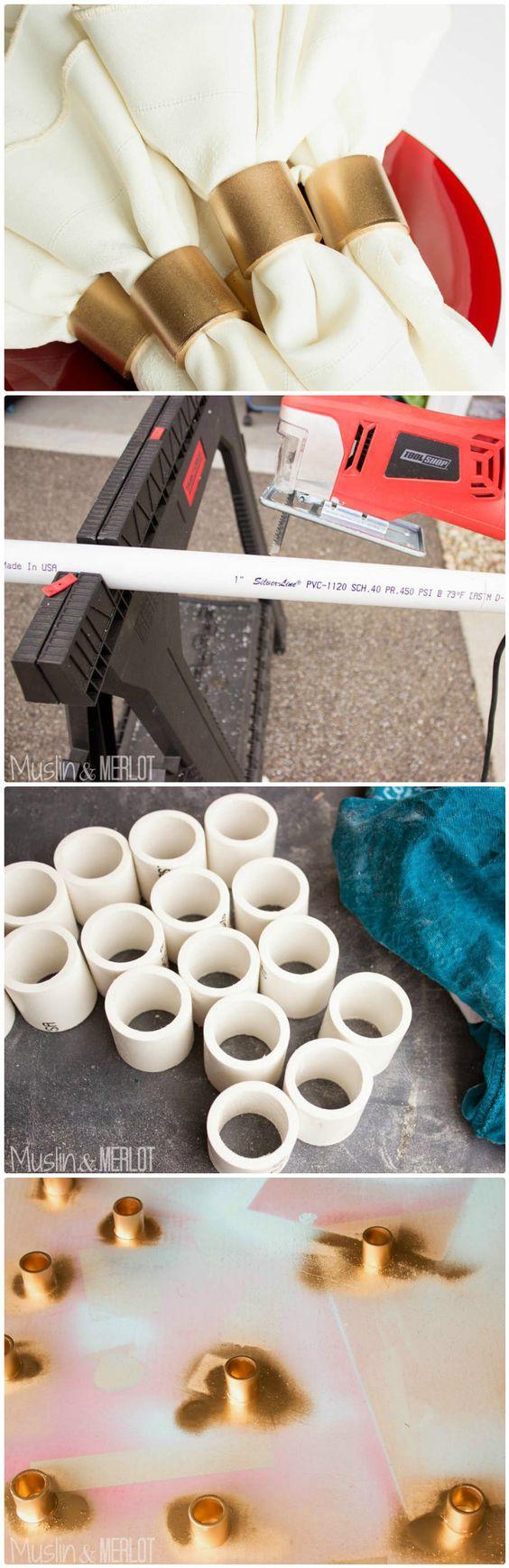 DIY PVC Pipe Napkin Rings.