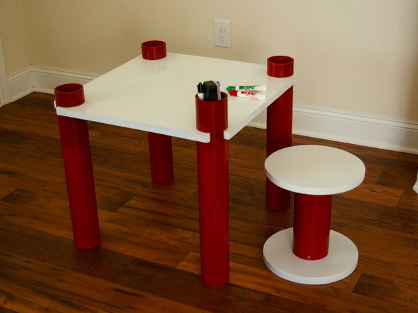 PVC Kids' Table and Stool. See the tutorial