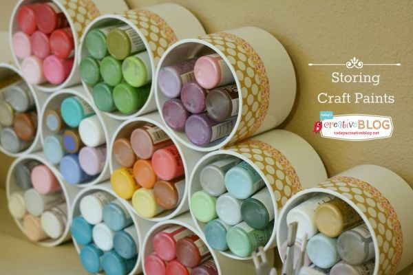 Craft Paint Storage with PVC Pipe. Get the instruction