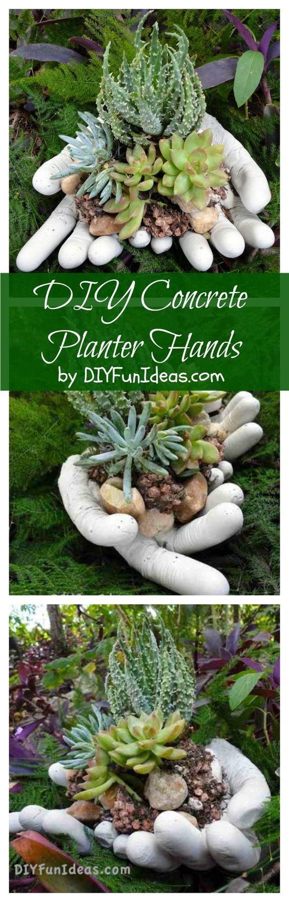 DIY Concrete Hand Planters.