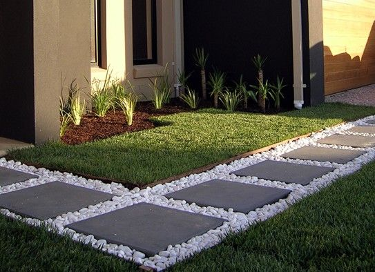 Create Beautiful Pathway with White Gravel and Concrete Slab Steps.