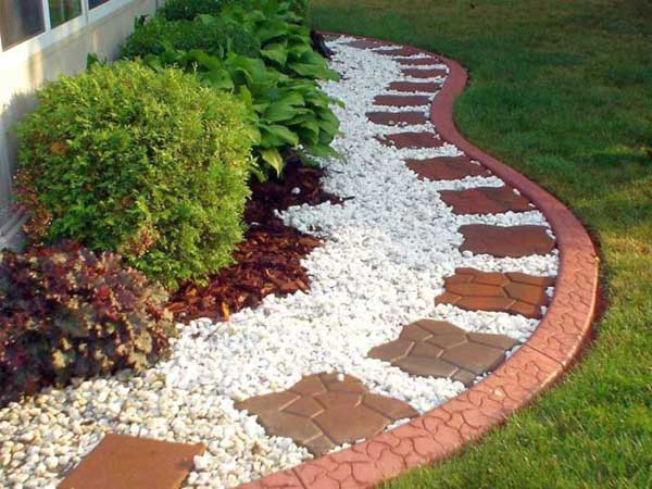 Landscape Plants with White Gravel.