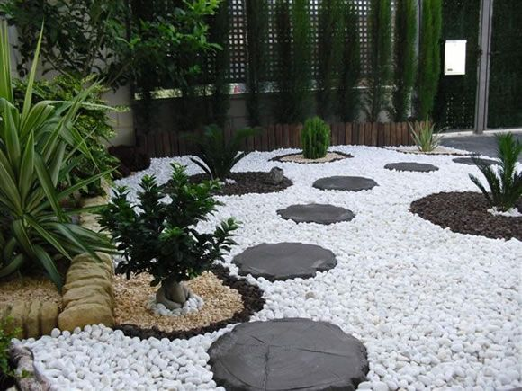 Wonderful Landscaping With White Gravel.