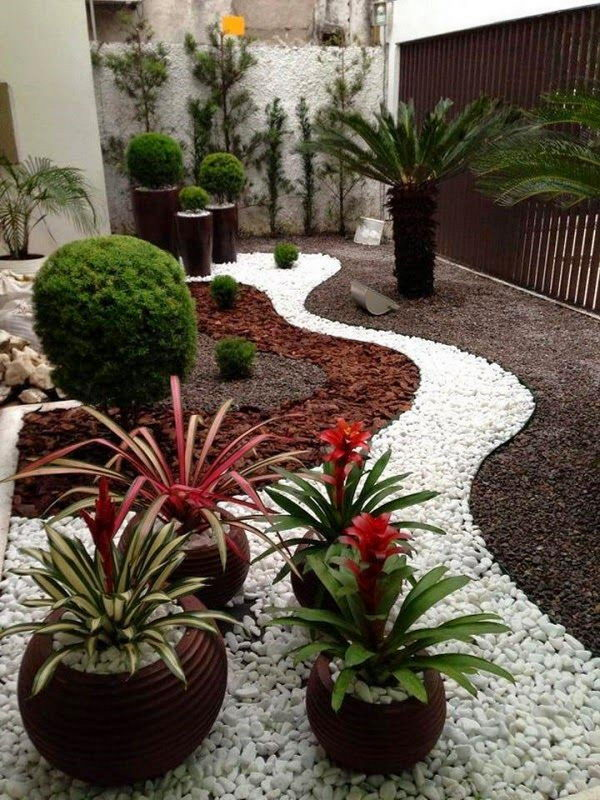 Gorgeous Backyard Landscaping with White Gravel.