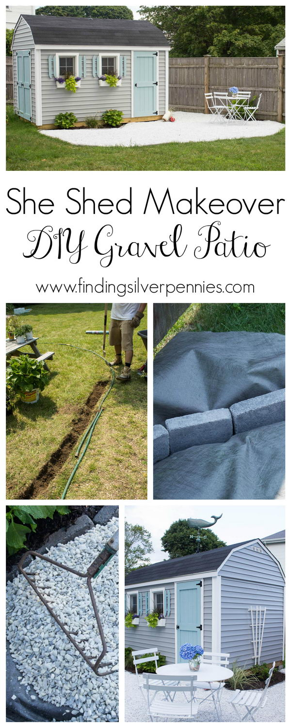 Great She Shed Makeover with DIY White Gravel Patio.