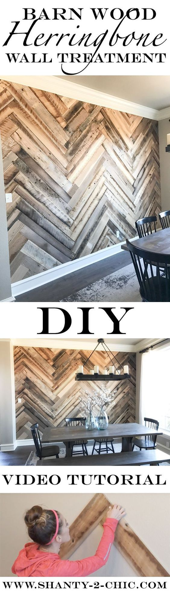 Reclaimed Barn Wood Herringbone Wall.