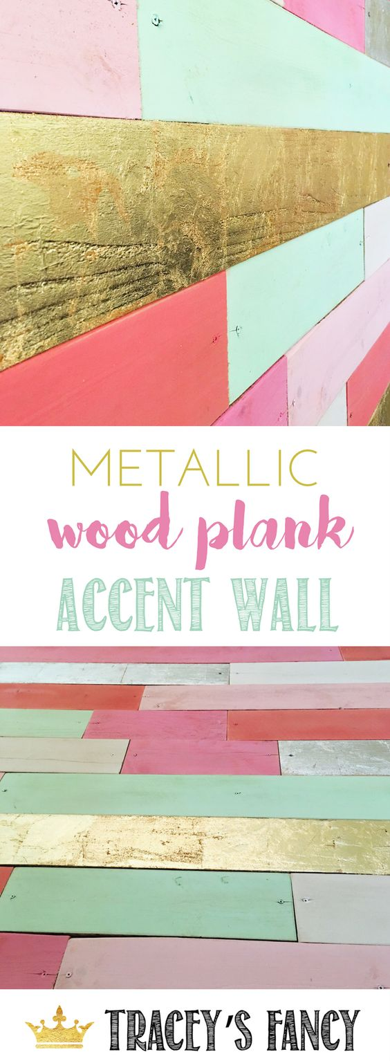 Mint, Pink and Metallic Gold Plank Accent Wall.