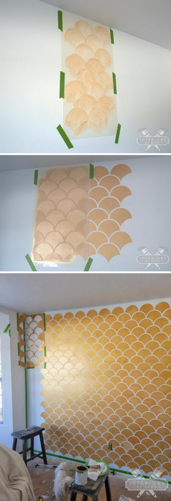 Gold and White Scallop Accent Wall.