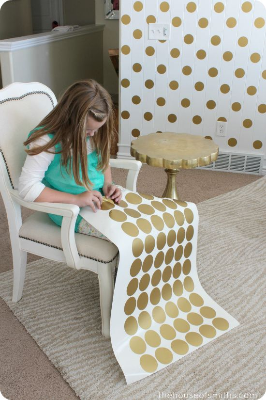 Gold Polka Dot Accent Wall.