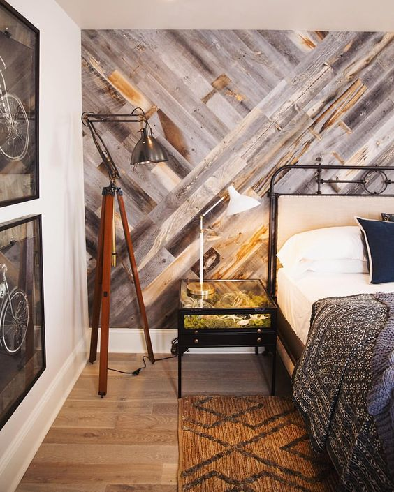 DIY Easy Peel and Stick Wood Wall.