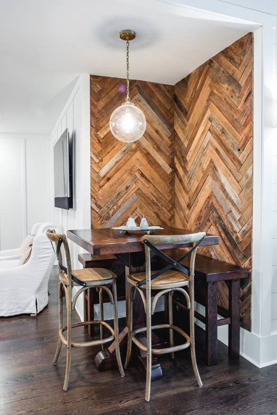 Corner Herringbone Accent Wall.
