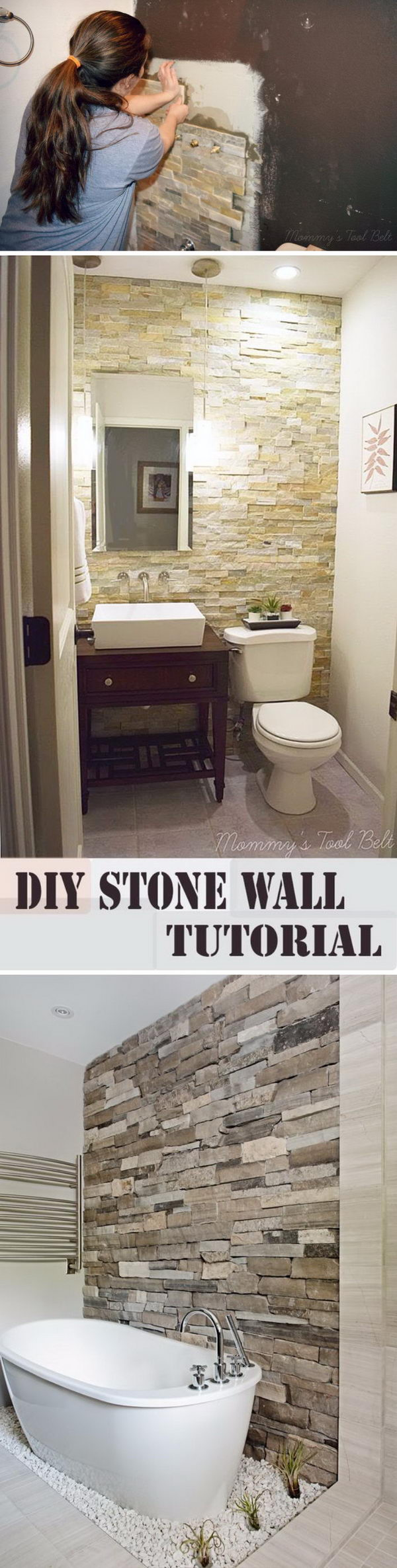 DIY Stone Accent Wall.