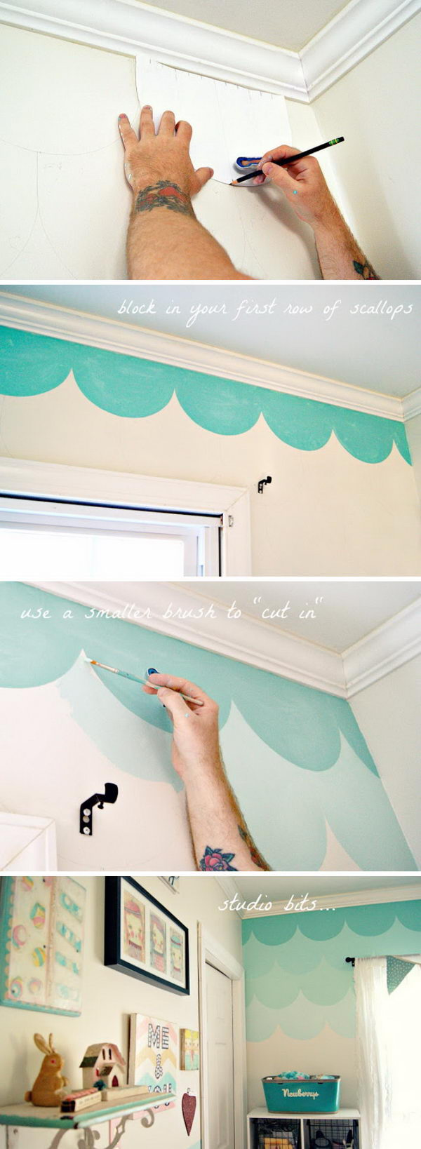 Ombre Scallop Accent Wall.
