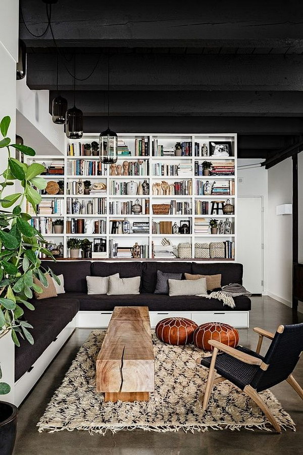 Bookcase Behind The Sofa.
