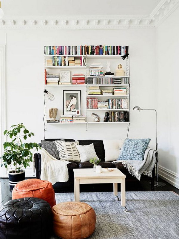 Cool Shelves Behind The Couch.