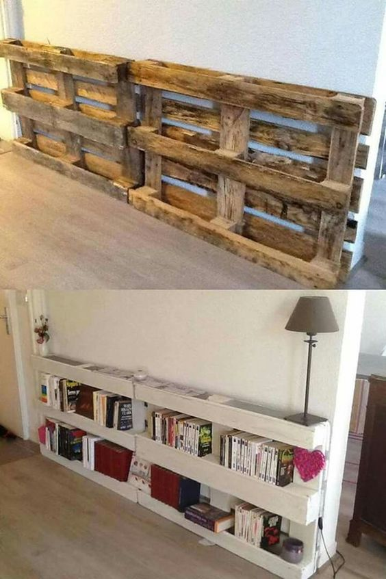 Pallet Bookshelf Behind Couch.