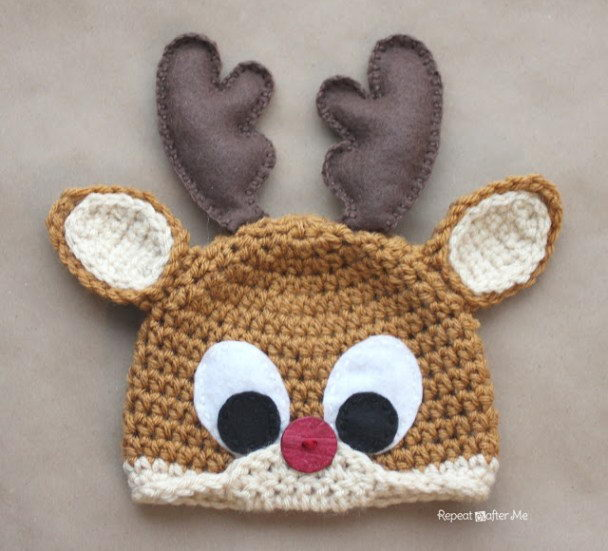 Crochet Rudolph The Reindeer Hat Free Pattern.