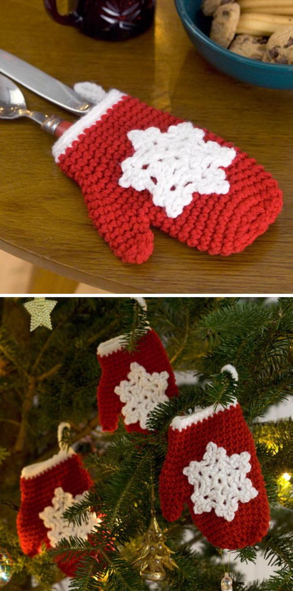 Crochet Snowflake Mitten Holiday Ornament Free Pattern.
