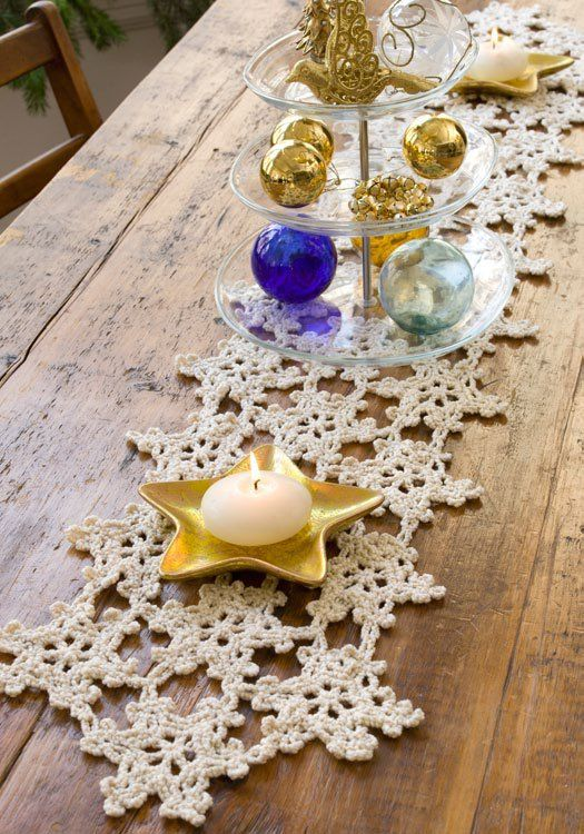 Crocheted Snowflake Table Runner Free Pattern.