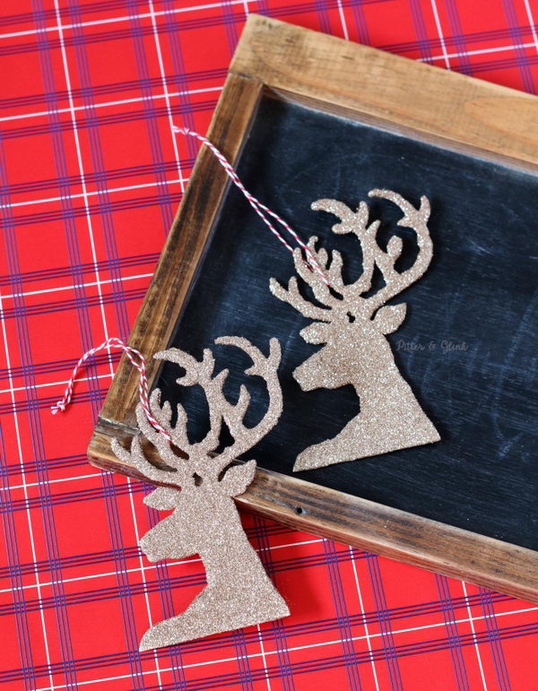 DIY Glitter Reindeer Ornaments.