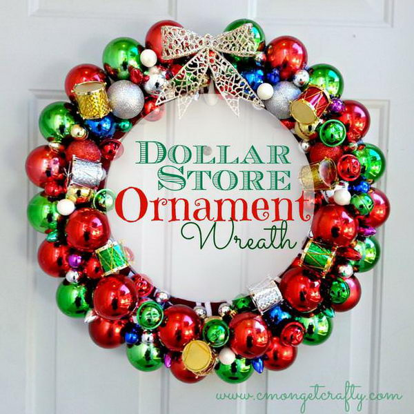DIY Dollar Store Ornament Wreath.