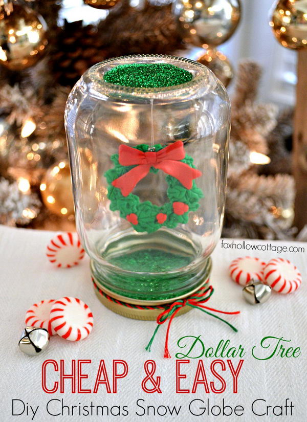 DIY Dollar Tree Mason Jar Christmas Snow Globe.