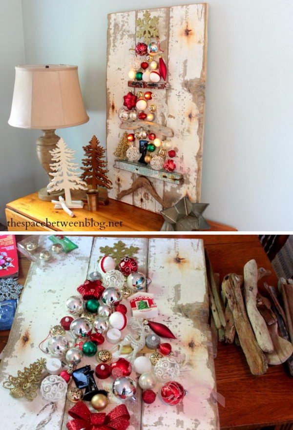 Rustic Christmas Tree Craft Using Driftwood And Ornaments.