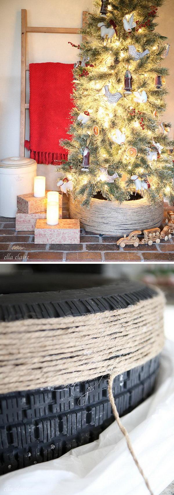 Jute Wrapped Repurposed Tire DIY Christmas Tree Stand.