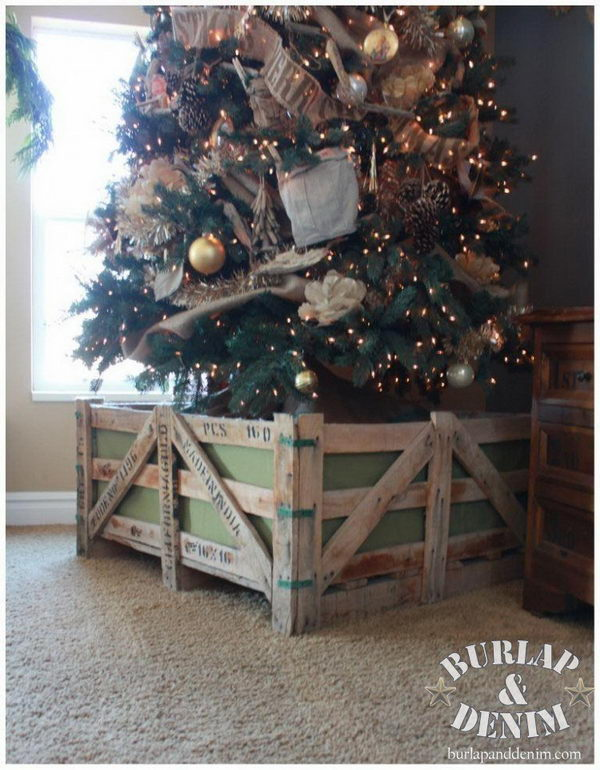 Reclaimed Shipping Crate Christmas Tree Stand.