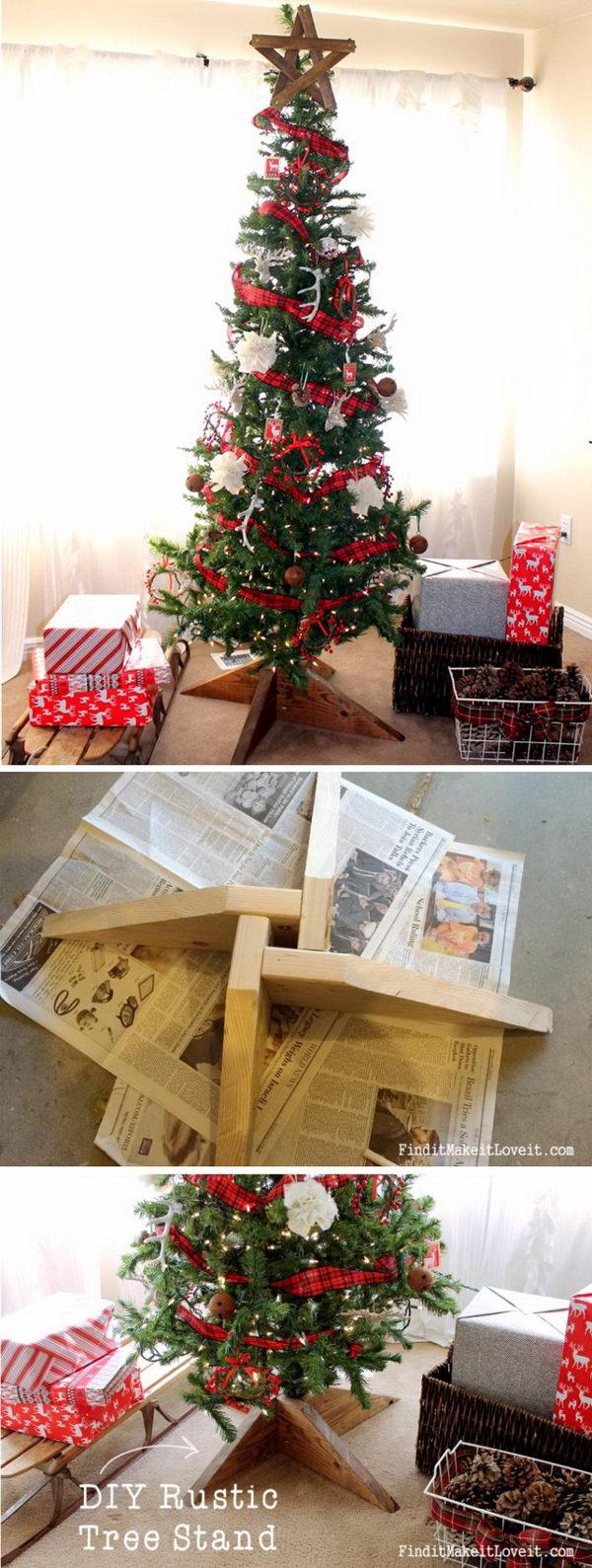 DIY Rustic Wood Tree Stand.