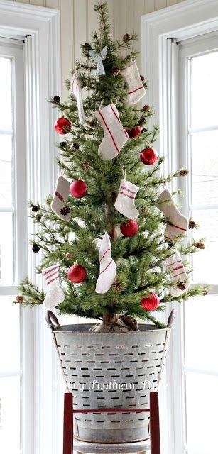 Vintage Olive Bucket Christmas Tree Stand.