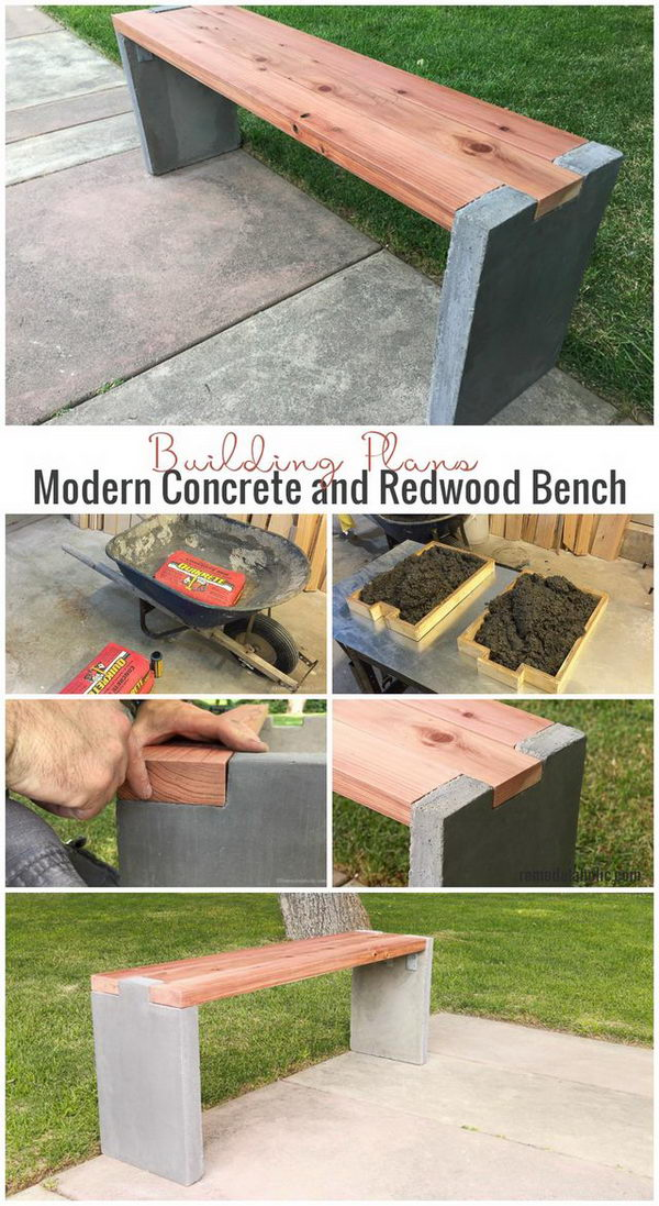 DIY Wood and Concrete Slab Garden Bench.