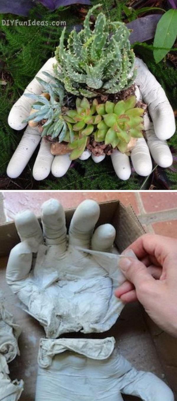 Concrete Hands Planter.