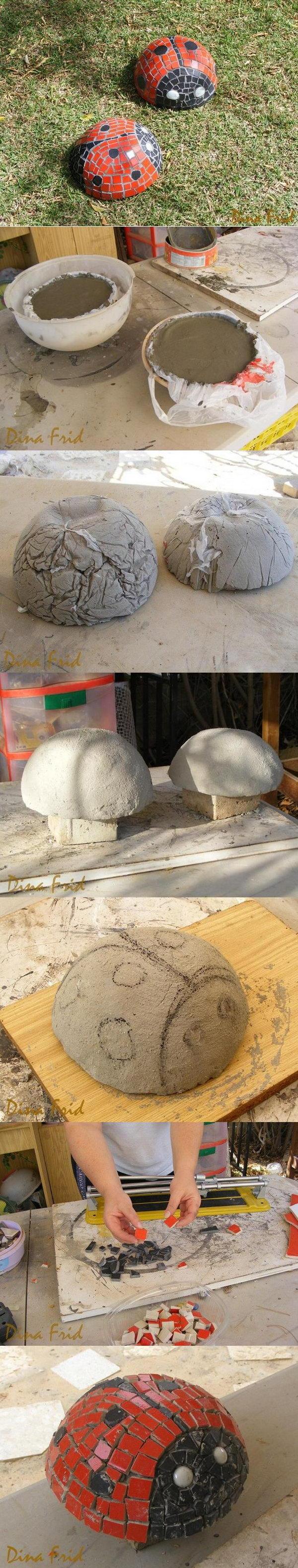 DIY Concrete Ladybug.