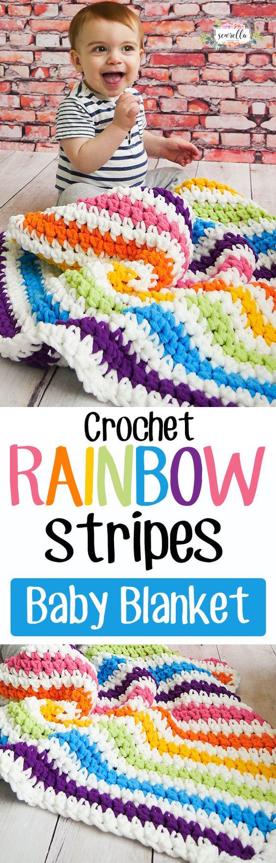 Crochet Rainbow Stripes Baby Blanket Free Pattern.