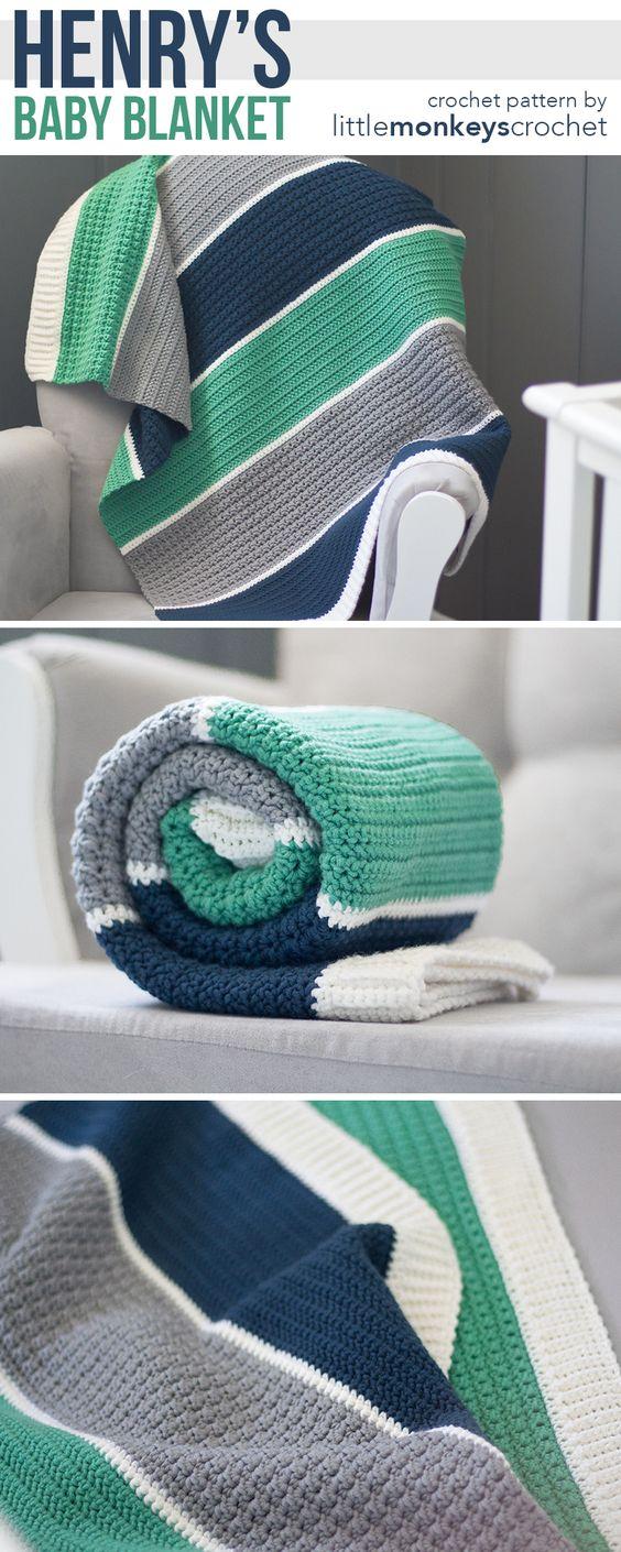 Free Modern Baby Blanket Crochet Pattern.