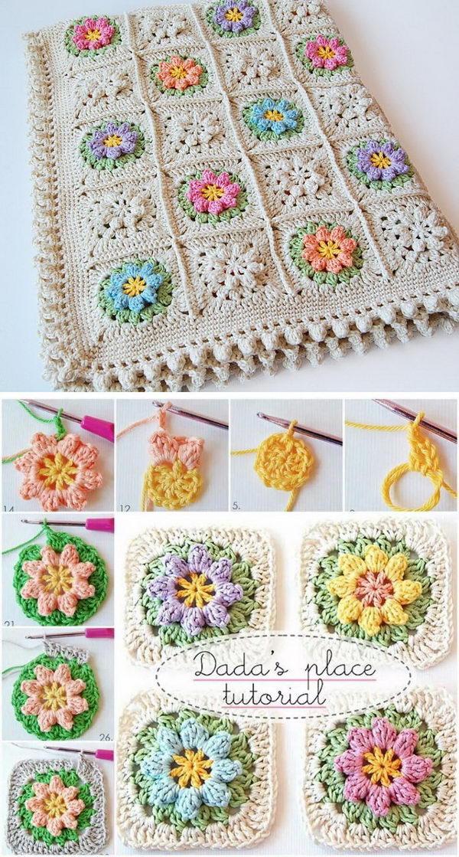 Primavera Flowers Baby Blanket Free Crochet Pattern.