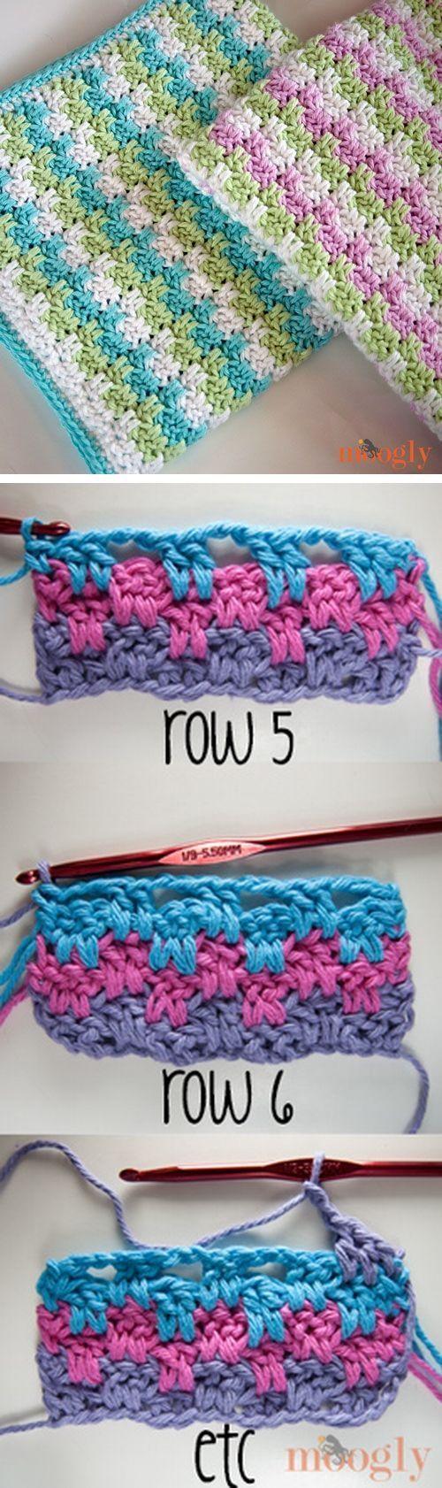 Leaping Stripes & Blocks Blanket Free Crochet Pattern.