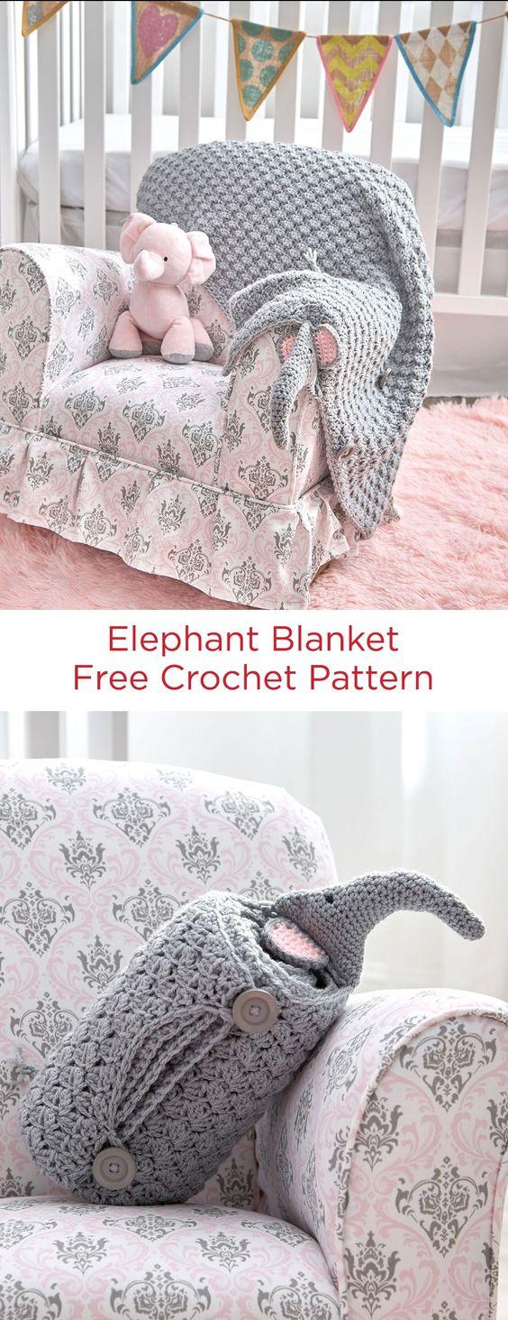 Elephant Blanket Free Crochet Pattern.
