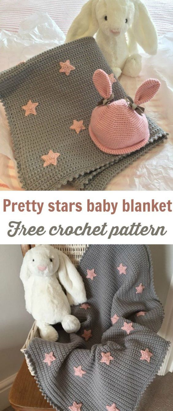 Free Baby Blanket Crochet Pattern With Cute Stars.