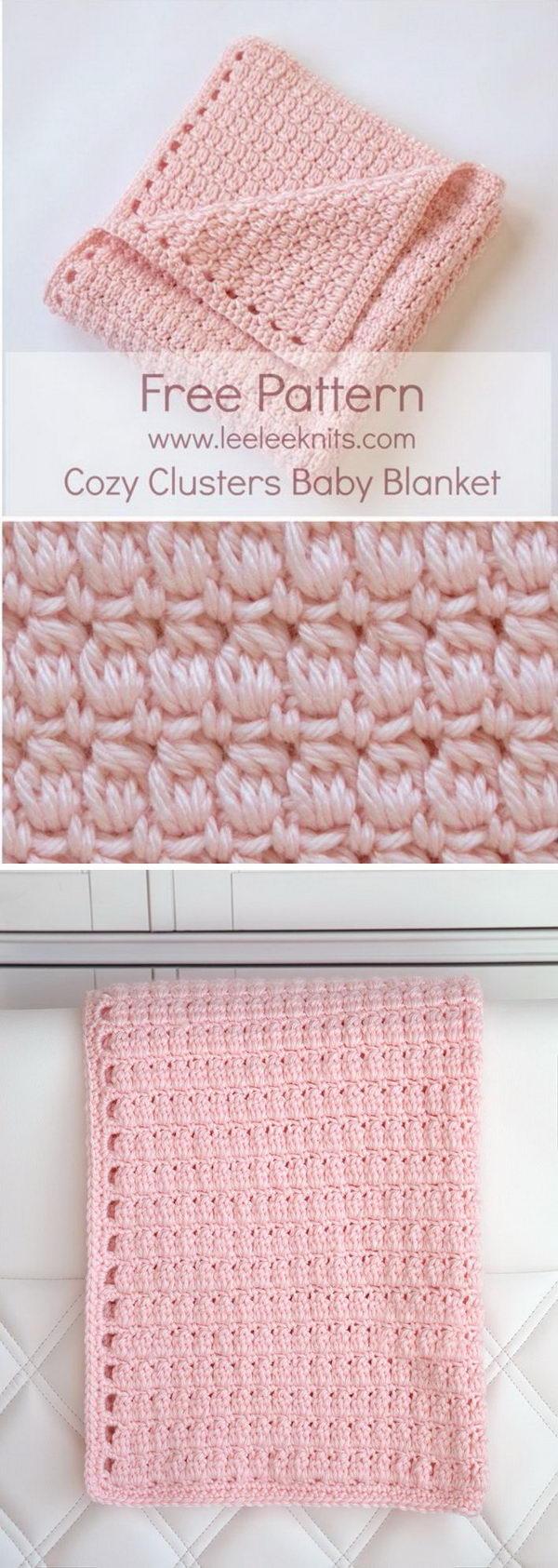 Cozy Clusters Free Crochet Baby Blanket Pattern.